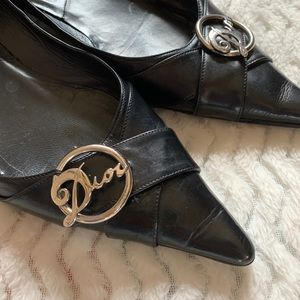 DIOR Black Pointed Toe Leather Flats Size 40